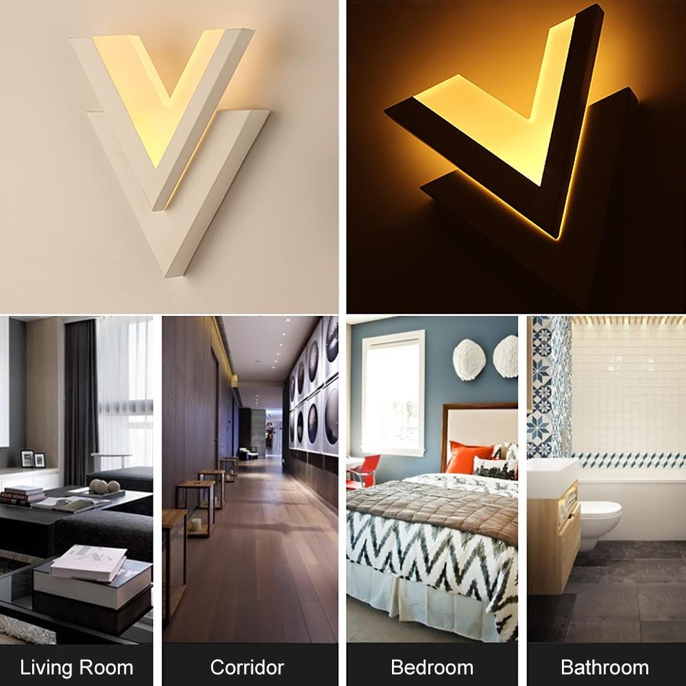 ФОТО Double V Style Modern LED Wall Lamp Acrylic + Metal light AC100V-250V Bedroom Living Room Bathroom Corridor Wall Light Sconces
