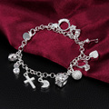 Free Shipping Wholesale Silver Plated Bracelet Wedding Jewelry Accessories Fashion Silver Hanging 13 Charms Bracelets Bangle