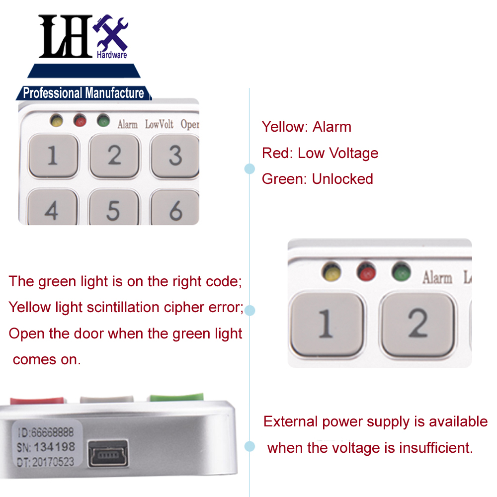 Image 3 - LHX Hardware Password Lock Digital Electronic Password Keypad Number Cabinet Code Locks Intelligent-in Locks from Home Improvement