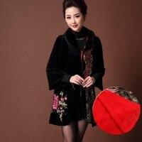 B Autumn Middle age Plus size Outerwear fat mother loaded women gold velvet coat Women embroidery windbreaker winter