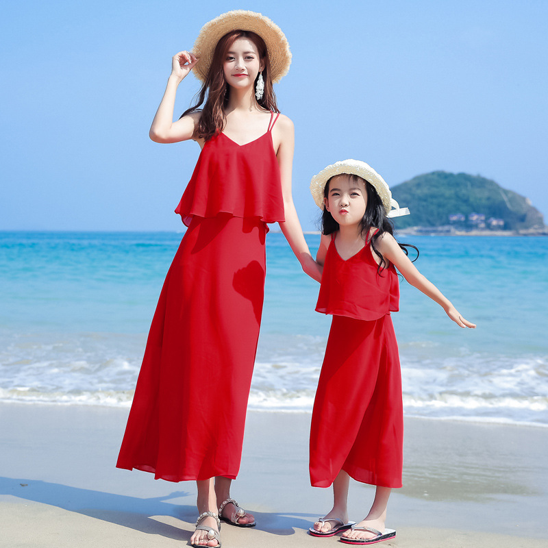 Summer Family Dress Strapless Red Mother Daughter Matching