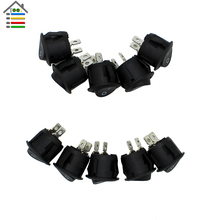 10Pc Round Rocker ON/OFF SPST Switch RED 6A MAX 250V LED Dot Light Car Boat 2 Pins Toggle Button Switch