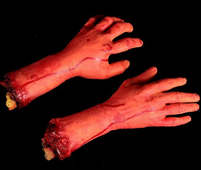 Horror trick Toy Scary Prop Latex Stump Bloody Cut Hand