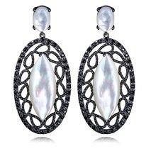 Madre de Pearl pendientes de concha y Cubic Zirconia pendientes de gota para mujeres de plata antialérgica Pin plateado platino joyería Vintage