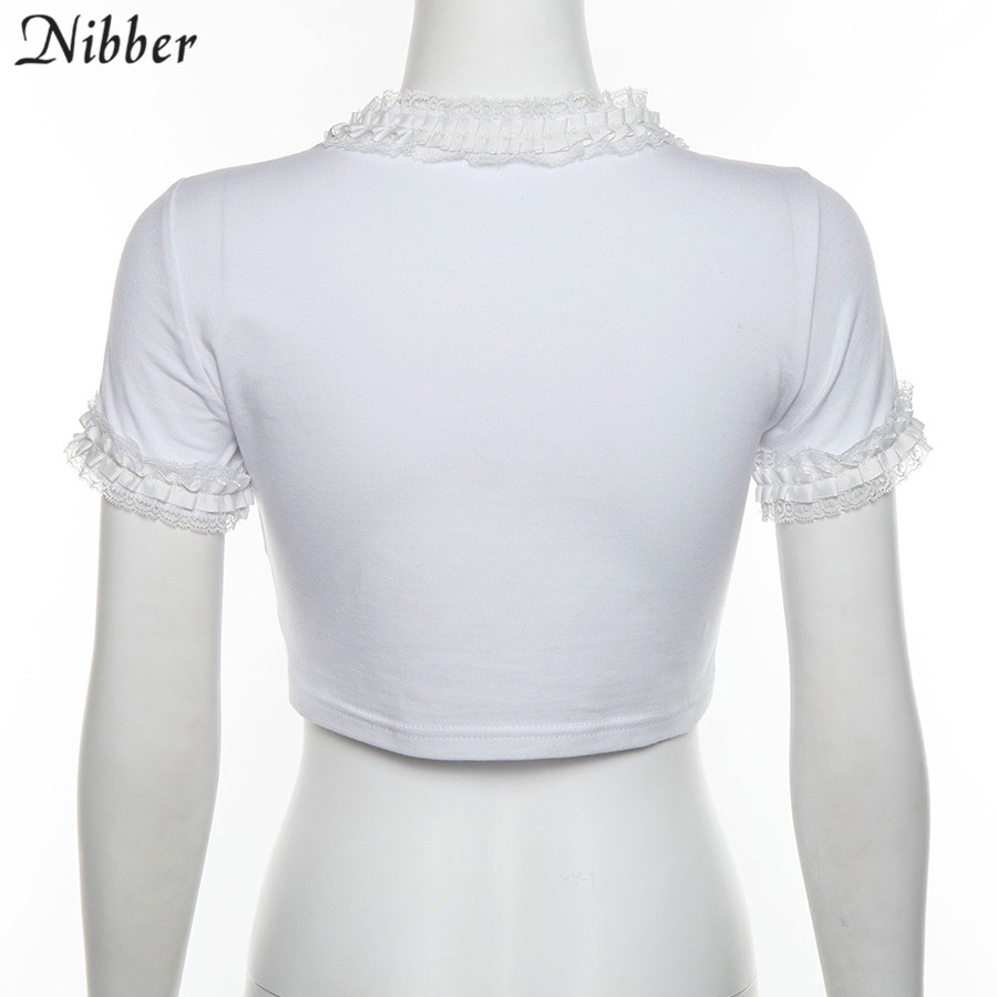 Nibber cute Cartoon printed lace trim crop tops womens T-shirts summer fashion white cotton tee shirts mujer Basic casual tops