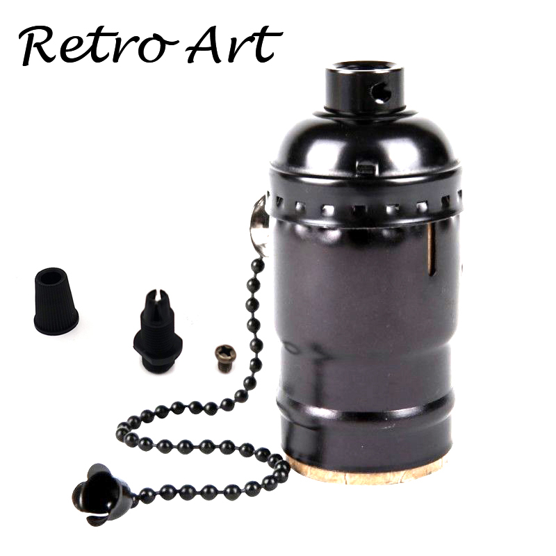 Free Shipping Loft Vintage Retro Light Socket  Antique Metal Lamp Holder With Zipper Switch E27/E26