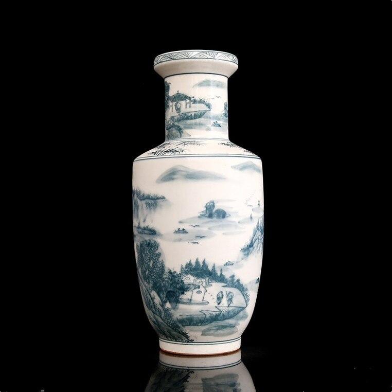 Kangxi hand-painted vase ink colored mountain antique porcelain vase ancient porcelain collection vase