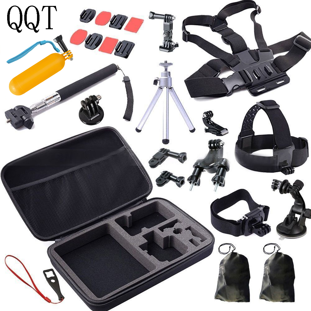 QQT pour GoPro accessoires tête poitrine fixation sangle trépied Go Pro Hero 6 Hero 5 4 3 + 3 2 caméra accessoire Kit