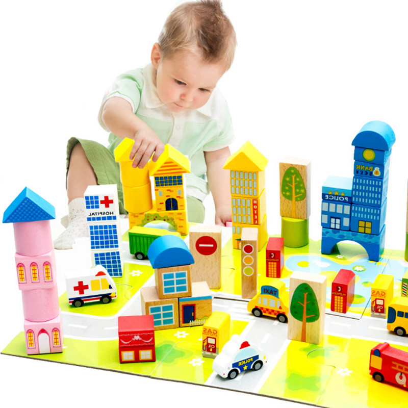 Quality city traffic building blocks baby wood educational toys kids wooden bricks toy Basic stacking toys kids gift цена
