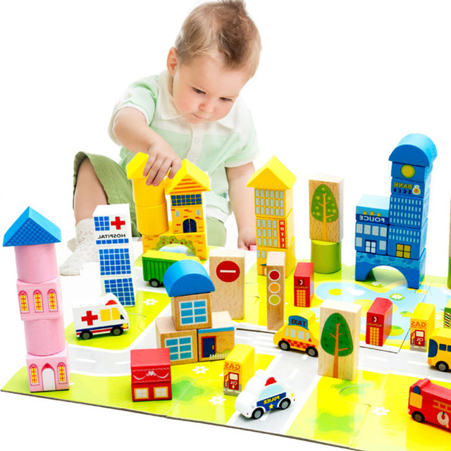 Quality City Traffic Building Blocks Baby Wood Educational Toys Kids Wooden Bricks Toy Basic Stacking Toys Kids Gift In Blocks From Toys Hobbies On