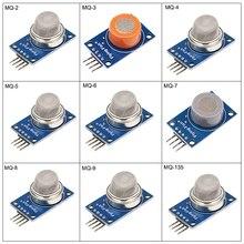Discount! 9 in 1 Gas Sensor MQ-2 MQ-3 MQ-4 MQ-5 MQ-6 MQ-7 MQ-8 MQ-9 MQ-135 Sensors Kit Module for Arduino Raspberry Pi 3 9pcs/lot