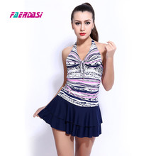 Faerdasi new halter swimsuit dress one piece bathing suit skirt swimwear horizontal striped bodysuit monokini women beach