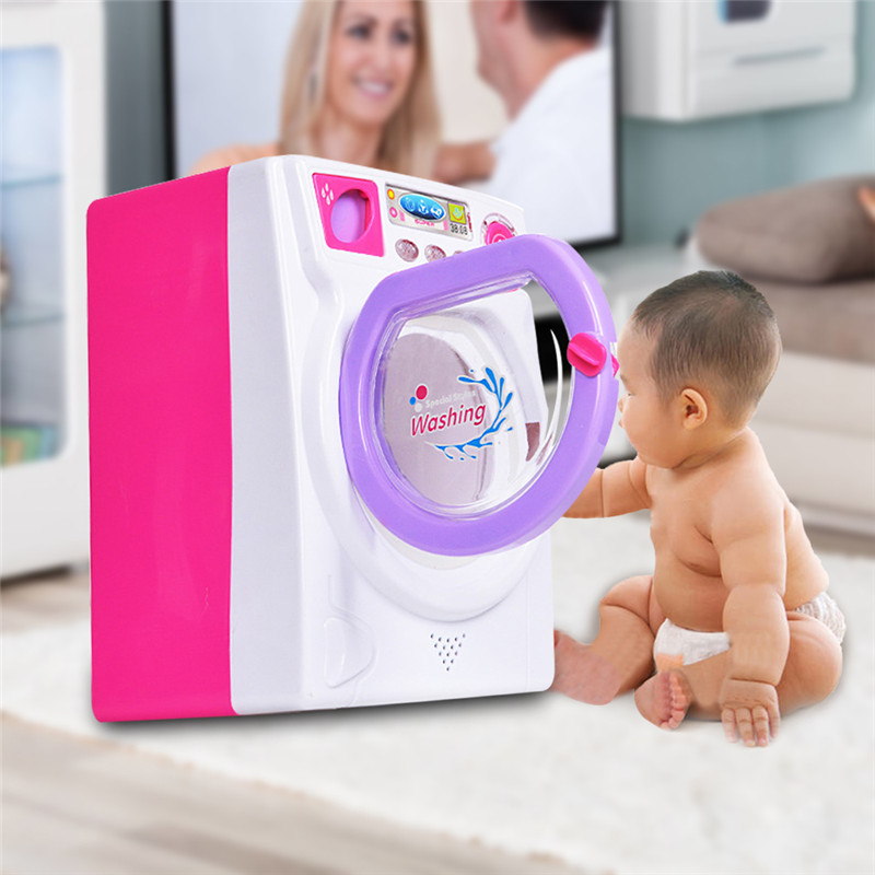 Mini Makeup Brush Cleaning Electric Washing Machine Toys Pretend Play Kids Toys Furniture Housework Toys Children Birthday Gift