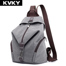 цена на KVKY Vintage Canvas Women Backpacks Fashion Travel Backpack for Teenager Girls Student School Bag Casual Rucksack Female Mochila