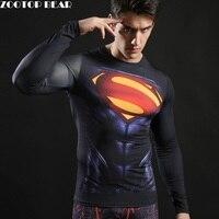 Superman Tops Novelty Compression T Shirts Men Fitness Bodybuilding T Shirts 2017 Long Sleeve Spring Superhero