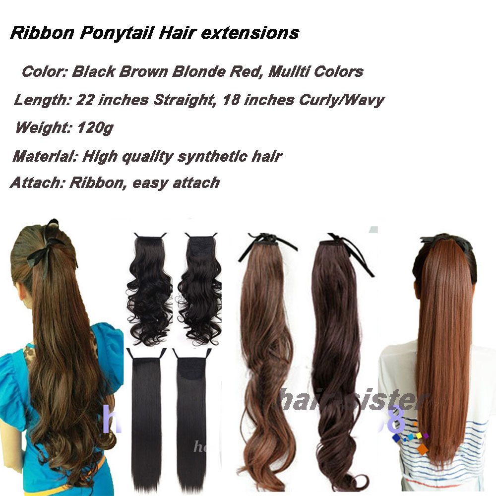 Long Women Ribbon Ponytails Long Straight Hair Pieces Synthetic Hair