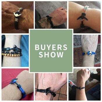 Anchor Bracelet Men Charm Survival Rope Chain Bracelets Paracord Fashion Black Color Anchor Bracelet Male Wrap Metal Sport Hooks 5