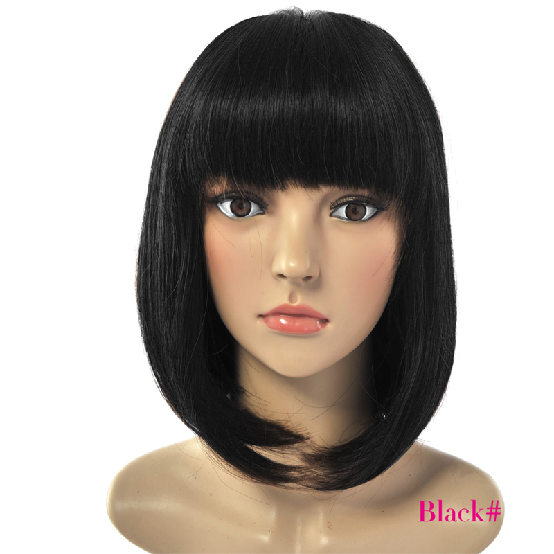 Deyngs Short Straight Pixie Cut Bob Synthetic Wigs for African American Women Natural Black/ Brown Wigs with Bangs Heat Friendly|wigs with a bang|wigs with bangs|wig heat resistant - title=