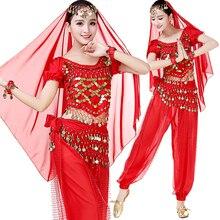 Costumes de Festival arabes de haute qualité, ensemble de vêtements de danse dhalloween, haut, pantalon, écharpe de hanche, voile de tête, Bracelets, 6 pièces