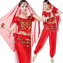 High Quality Festival Costumes Arabian Belly Dancing Halloween Dance Outfits Set 6pcs Top,Pants,Hip Scarf,Head Veil,Bracelets