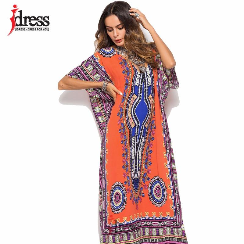 IDress African Kaftan Dresses for Women Summer Thinic Dashiki Dress Robe  Traditional African Clothing Long Maxi Tunic Dress 88e3c3151635