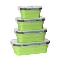 4 шт. силиконовая складная коробка Bento складной портативный экологичный Ланч-бокс для еды столовая посуда контейнер для продуктов миска для ...