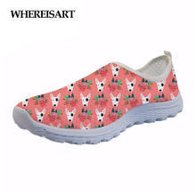 WHEREISART Cute Bull Terrier Pattern Women's Shoes Flats Mesh Breathable Women Sneakers Woman Summer Ladies Light Shoes Loafers forudesigns flats shoes cute bull terrier pattern casual women light shoes woman student fashion comfortable mesh shoes walking