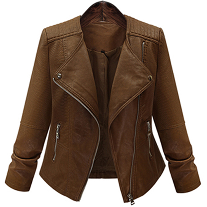 Brown Matte Sexy Faux Leather Jackets Women Plus Size Big Turndown Collar Zipper Pocket Warm Jackets Winter Female Leather Coats