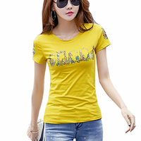 Camisetas Mujer 2017 Summer Short Sleeve Tshirt Printing Styles Womens T Shirt O Neck Coats Plus