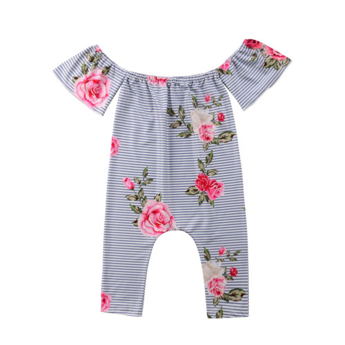 Newborn Baby Girl Off-shoulder Stripe Short Sleeve Romper Jumpsuit Outfits Clothes  Size 0- f718c51539bf