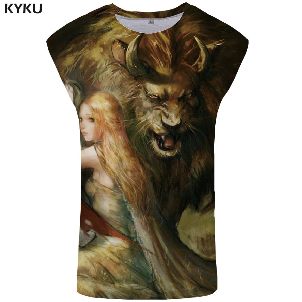 Kyku Lion Tank Top Männer Schönheit Mens Bodybuilding Anime Stringer Lustige Singulett Ftness Kleidung Unterhemd Ärmelloses Shirt Im Sommer KüHl Und Im Winter Warm