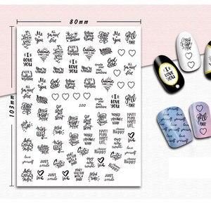 Image 2 - 1 sztuk 3D paznokci suwak czarny rosja naklejka w kształcie litery tekst napis klej Manicure porady paznokci dekoracje artystyczne