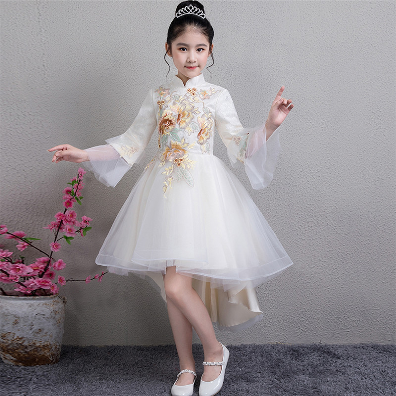 Autumn New Kids S Birthday Wedding Party Embroidery Flowers Lace Tail Dress Elegant White Host Piano Pageant Dresses