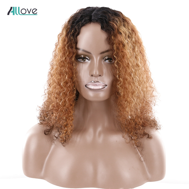 Afro Kinky Kinky Curly Human Hair Wigs For Black Women Allove Brazilian Remy U Part Lace