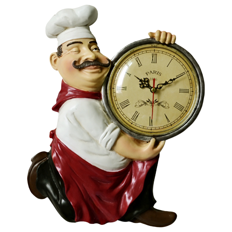 Vintage Resin Chef Hanging Dining Room Kitchen Wall Clock Wall Craft for Restaurant Dining Hall wall
