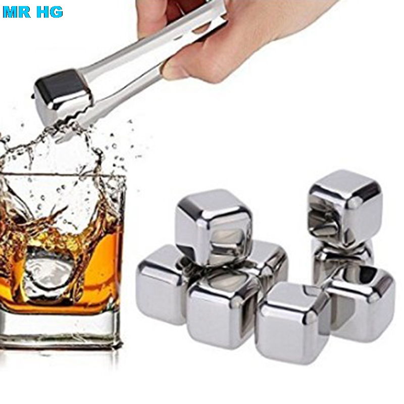 Stainless Steel Whisky Stones Ice Cubes Whiskey Cooler Rocks Ice Stones With Clips Tongs Bar Accessories 8PCS/ Pack