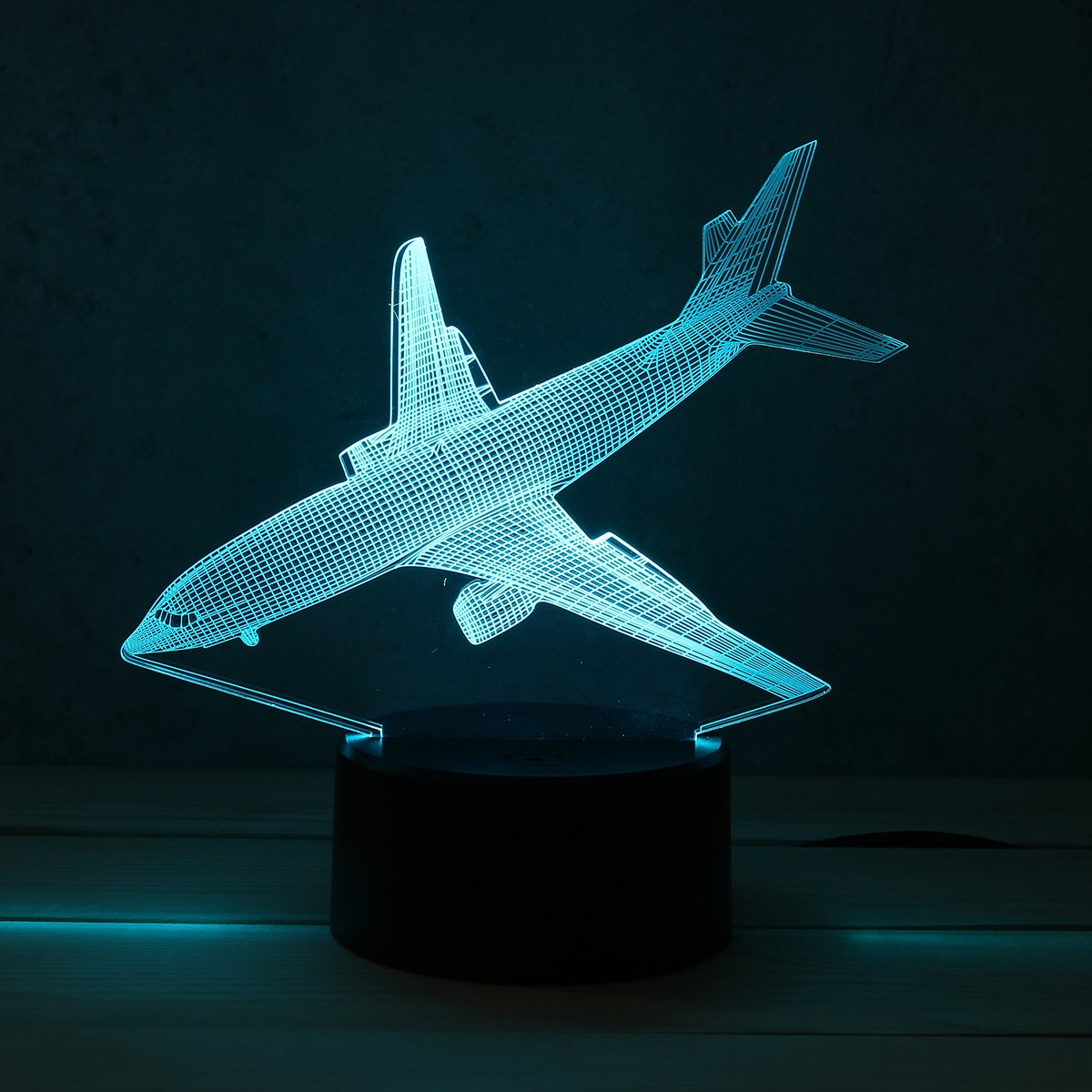 7 Color Airplane Acrylic LED 3D LED Night Light Toys Lamp Air Plane Night Touch Table Desk Light DC5V For Kid Christmas image