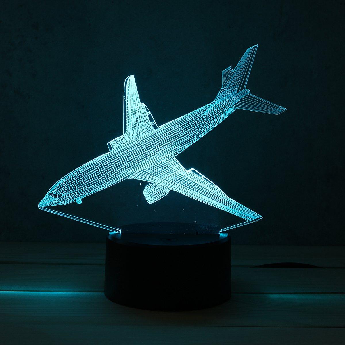 7 Farbe Flugzeug Acryl FÜHRTE 3D Led-nachtlicht Spielzeug Lampe Flugzeug Nacht Touch Tisch Schreibtisch Licht DC5V Für Kind Weihnachten