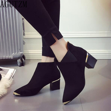 2018 Autumn Winter Fashion Woman Boots High Heels women Leather Ankle Boots Sexy Pointed Toe Metal Martin Boots v717