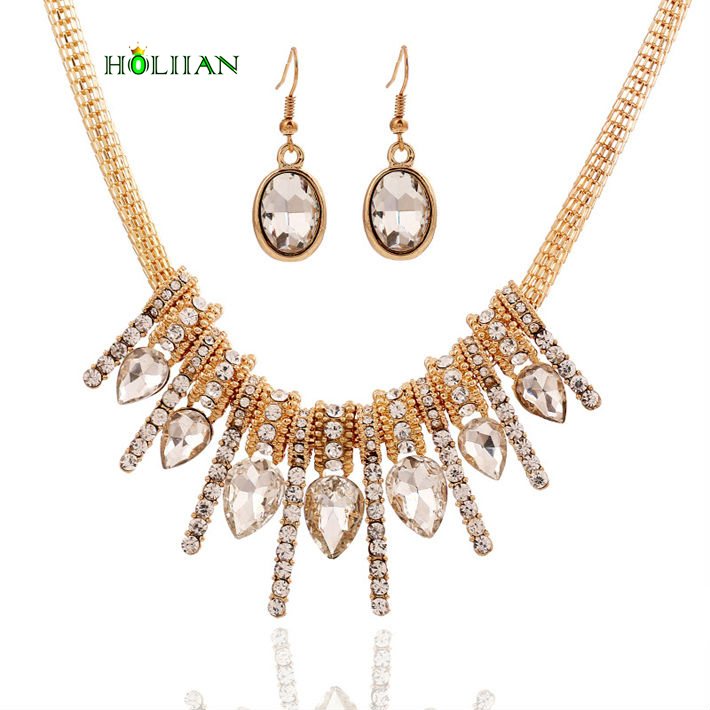 Women crystal jewery set gold pated glass drop earring& necklace set choker collier feme accessories mujer collares Crystal