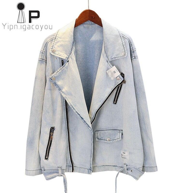 Autumn Denim Jacket Women Overcoat 2019 Harajuku Large size Moto Biker Jeans Jacket Women Vintage Student