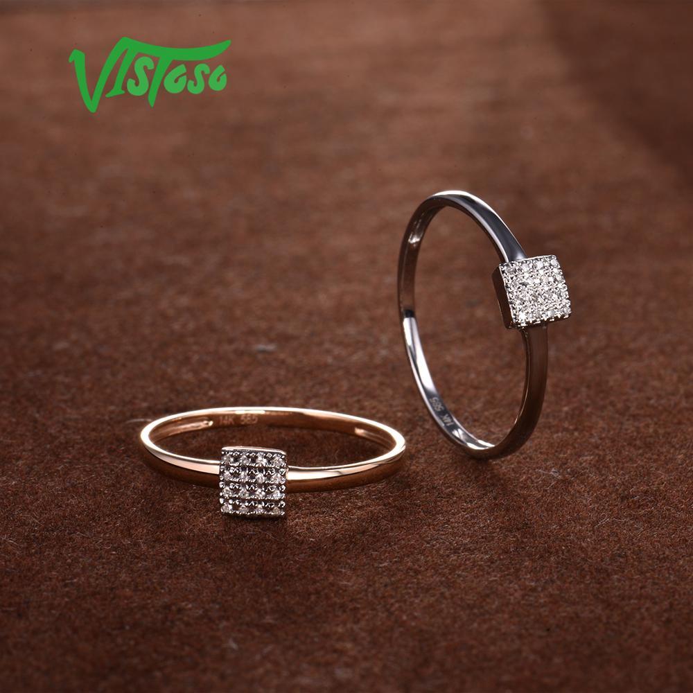 VISTOSO Pure 14K 585 or blanc Rose scintillant diamant délicat bague carrée pour les femmes anniversaire fiançailles bijoux fins à la mode - 5