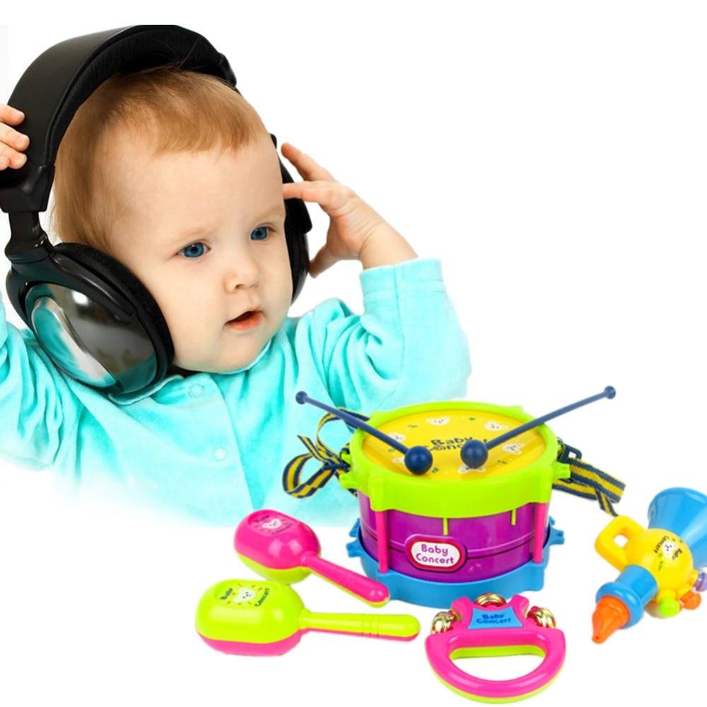 5 unids Educación Bebés y Niños Drum Roll Instrumentos Musicales Kit Band Niños