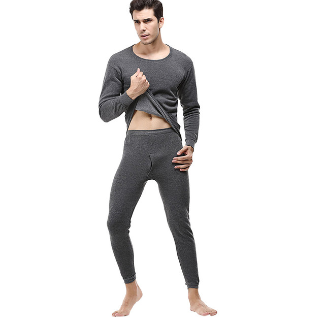 Men's Solid Winter Thermal Suit Circular Collar Pure Color Cashmere Long Sleeve Daily Underwear Set 1