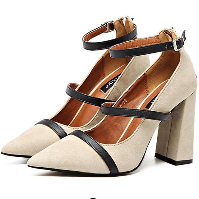 2017 New Women High Heels Shoes Suede Shallow Mouth Pumps Crude Heel Ankle Buckle Pumps High-Quality Suede Casual OL Work Shoes
