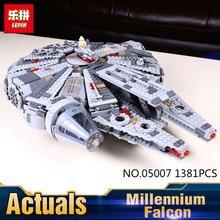 Lepin 05007 1381 Sztuk Star Wars Siły Awakens Millennium Falcon Zestaw Modelu Budynku Bloki Cegieł Zabawki Dla Dzieci 75105