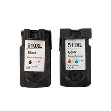 Melhor preço para cartuchos de tinta canon pixma compatível para canon PG-510XL CL-511XL com tinta cheia e chips e cabeça impressão