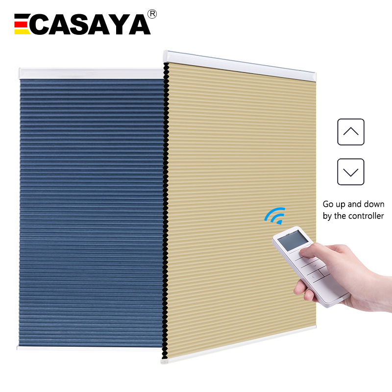 Made to Order Blackout Motorized Cellular Shades Cordless Honeycomb blinds Remote and Batteries Included