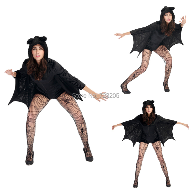 sale adult women classic halloween costume black hooded bat underwear catsuit sexy vampire devil carnival cosplay - Halloween Costumes Prices