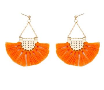 Этнический стиль Модные веерообразные серьги с кисточками в богемном стиле серьги ювелирные изделия - Цвет: Оранжевый